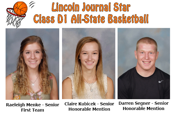 Raeleigh Menke 1st team All state basketball, Claire Kubicek Honorable mention all state basketball, Darren Segner Honorable mention all state basketball